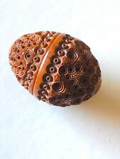 Antique Victorian treen - wooden carved egg shaped container.