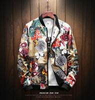 Fashion Men Slim Japanese Style Retro Jacket Printed Sport Casual Baseball Sbox1