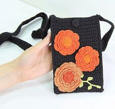 """Trendy Black Crocheted Gadget Pouch with Shoulder Strap for Large Phones 5""""-6"""""""