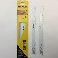 STA21182 STANLEY 2 X RECIP SAW BLADES WOOD PRUNING SUPER SHARP HCS 240mm S1531L