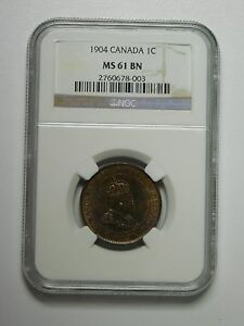 1904 Canada Large 1 Cent Coin NGC Graded MS61 BN, 2760678-003