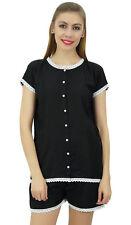 Bimba Womens Black Buttondown Lace Pj Set Rayon Night Shirt Shorts Set Dress