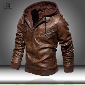 Men's PU Leather Jacket Motorcycle Hood Winter Coat Warm Casual Bomber Jackets
