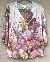 Anthropologie Fig and Flower Floral Lace Boho Peasant Top Pink Petite Large PL