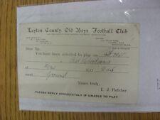 Condado de chicos Antiguo 20/01/1936 Leyton: tarjeta de selección V Antiguo libertians, como enviado a P