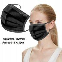 Lots 2-5-10, Masque de protection en tissu , lavable , réutilisable  Coton noir