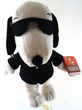 "Peanuts SECRET AGENT SNOOPY Bean Bag Plush NWT 7"" tall Black Suit & Glasses"