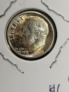 1959 90% Silver Toned Roosevelt Dime 10C Coin