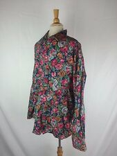 Vintage TANGO Max Raab Floral Print Button Front Shirt Short Sleeve Size XL USA