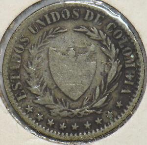 Colombia 1866 2 Decimos Silver 293508 combine shipping