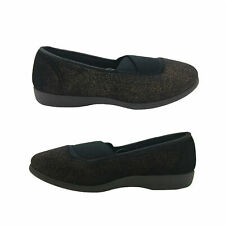Ladies Slippers Grosby Jacquie Black Gold Crossover Elastic Slip on Size 5-11