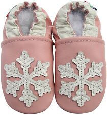 carozoo snowflake pink 18-24m soft sole leather baby shoes