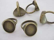 5 Bronze Ring Blanks Settings Size 7.5 Fits 13x18mm Cabochon Bezel Ring Findings