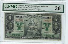 1925 Banque Canadienne Nationale Large $5 Note Pmg 30