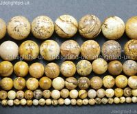 Natural Picture Jasper Gemstone Round Beads 2mm 4mm 6mm 8mm 10mm 12mm 14mm 16""