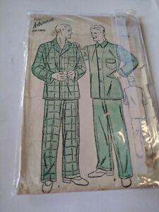 Vintage ADVANCE Pattern 2147 Men's PAJAMAS Chest 42 Waist 38