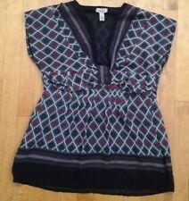 MAHEK  Women's Short Sleeve V-Neck Multi Color Sheer Lined  BLOUSE Size Large