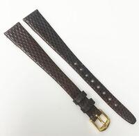 Hirsch Genuine Lizard Dark Brown Tone 13mm Leather Gold Buckle Watch Band