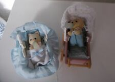 SYLVANIAN FAMILIES  1988  SMALL PRAM WITH BABY &CARRY COT WITH BABY &BOTTLES