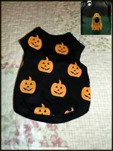 NEW Pet Dog Black with Orange Pumpkins Sweater Tank  XS  L