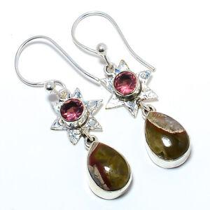 "Calcite & Rubellite Pink Tourmaline 925 Sterling Silver Bali Earring 1.91"" LAE38"