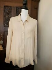 Broadway & Broome M 100% Silk Roll Tab Sleeve Fitted Button Up Shirt Blouse Top