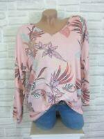 ITALY Feinstrick Shirt Pullover Pulli Print Lurex Kante 38 40 42 Rosa E879 NEU
