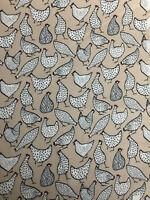Beige Funky Chicken Animal Childrens Printed 100% Cotton Poplin Fabric.