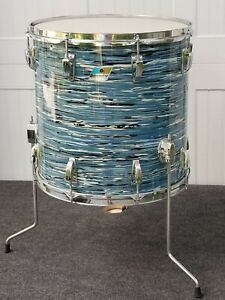"Vintage Ludwig 16"" x 16"" Floor Tom Drum - 3 Ply,  Blue Oyster, Blue Olive Badge"