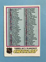 1977-78 Topps Hockey Card Marked Checklist #249
