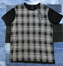 Scotch & Soda Rocket T Shirt XL Tee Black White Plaid Cotton Retail $75 Slim Fit