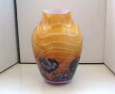 Large Caithness 'Cadenza' Glass Vase In Topaz, By Colin Terris, 16cm Tall.