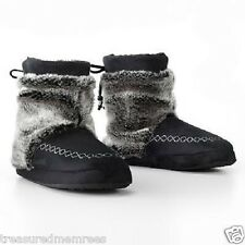Mudd Microsuede Tipped Fur Booties ~ Size Small (5-6) ~ Black ~ New With Tags