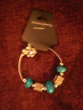 Turquoise Stretch Bead Bracelet Fashion Jewelry Silvertone And Dark
