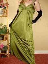 Olive Green Silky Shiny & Lacy Long Formal Length Bra Slip Nightgown L-XXL BNWT