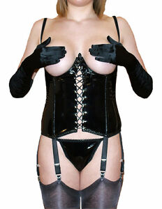 NYLONZ 6 Strap Cupless / Open PVC Basque with 6 Suspenders