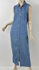 RALPH LAUREN Light Blue Chambray Denim Button-Front Long Maxi Dress M 8