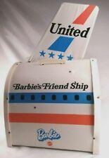 Vintage Barbie United Airlines Friend Ship Airplane Mattel 1970's w/ Tea Cart