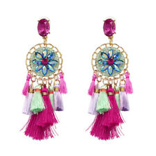 ZARA  BOHO RHINESTONE TASSEL  DROP  EARRINGS