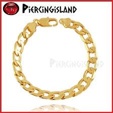 9K GOLD FILLED MENS WOMENS PLAIN FLAT CURB RING CHAIN SOLID BANGLE BRACELET GIFT