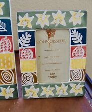 Set of Three New Hand Painted Autumn Leaf Themed Ceramic Tabletop Picture Frames