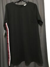 Ophelia Roe Women Plus Size Menswear Dress 3X Black With Side Stripes Red White