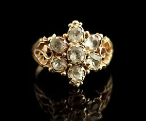 Antique Victorian Topaz cluster ring, 18ct yellow gold, forget me not