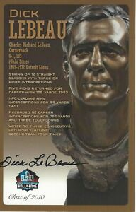 Dick Lebeau Detroit Lions  Football Hall Of Fame Autographed Bust Card