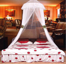 Lace Bed Mosquito Netting Mesh Canopy Princess Round Dome Bedding Net Whit~RKZT