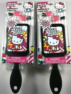 Hello Kitty Hair Brush & Hair Clips Set Gift  Lot of 2