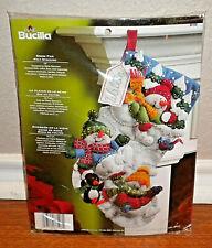 """Bucilla Christmas Felt Stocking Kit Snow Fun Snowmen 18"""" #86108"""