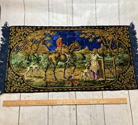 """Vintage Large Tapestry Wall Hanging  Horse Hunter Dog  Scene Rug Fringe 40""""x21"""""""
