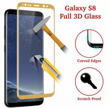Samsung Galaxy S8 3D Full Curved Tempered Glass LCD Screen Protection Gold