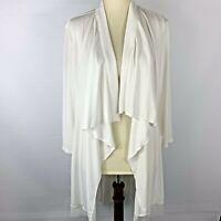 Chico's Women's Soft Drape Winter White Waterfall Layered Mesh Cardigan Size L 2